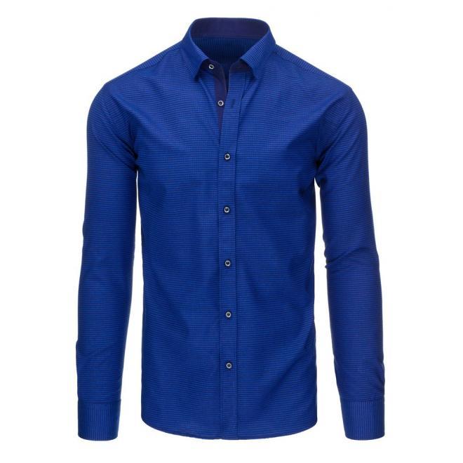 Pánska košeľa s kockovaným vzorom v bordovo-modrej farbe