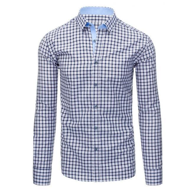 e72f1f907 Elegantná pánska košeľa modro-bielej farby s kockovaným vzorom ...