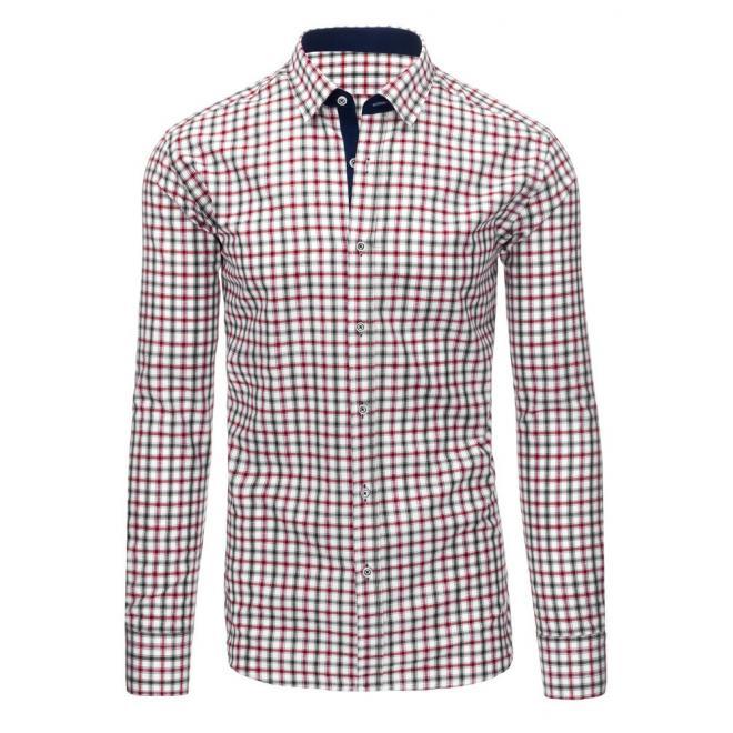 aea9a3969acc Bielo-červená košeľa s kockovaným vzorom pre pánov - skvelamoda.sk