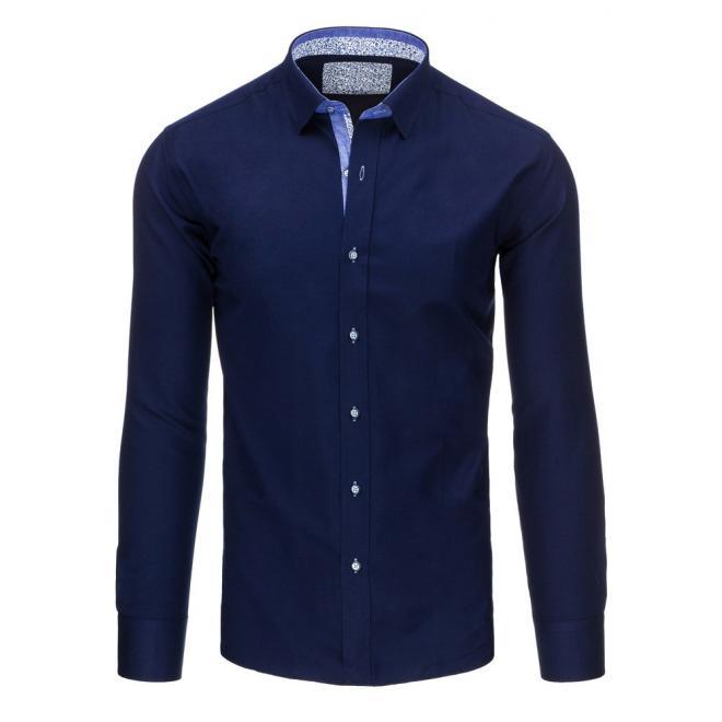 79d579dbd7d0 Elegantná pánska košeľa tmavomodrej farby s dlhým rukávom ...