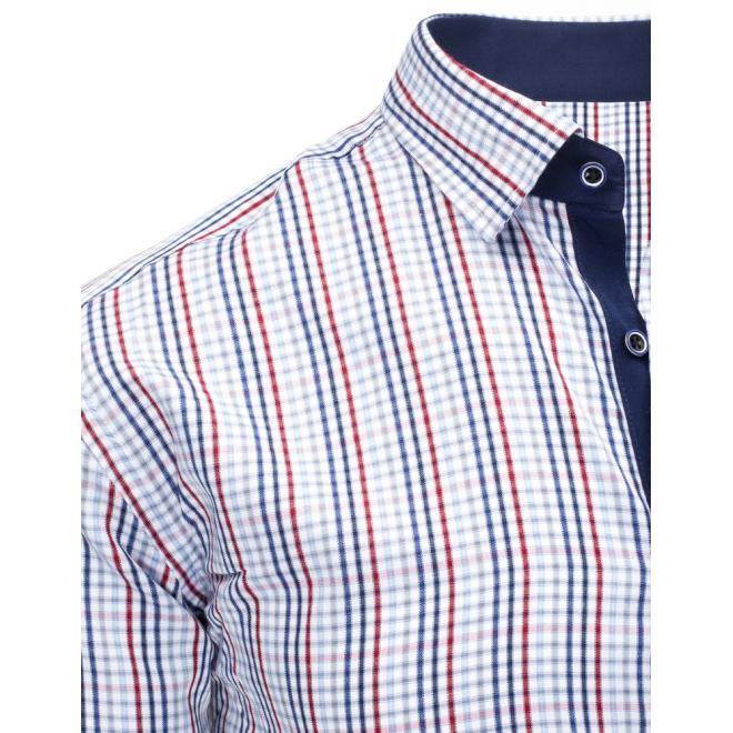 0d0ad545e415 ... Pánska štýlová košeľa s kockovaným vzorom modro-ružovej farby ...