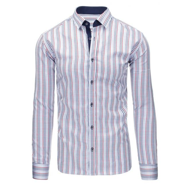79affc40315d Kockovaná pánska košeľa bielo-modrej farby s dlhým rukávom ...
