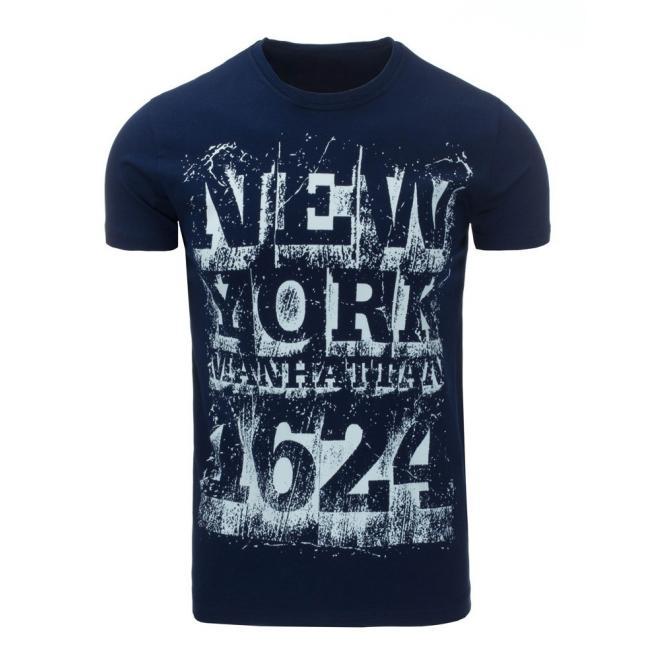 a0362d45ff97 Tmavomodré moderné tričko s krátkym rukávom pre pánov - skvelamoda.sk