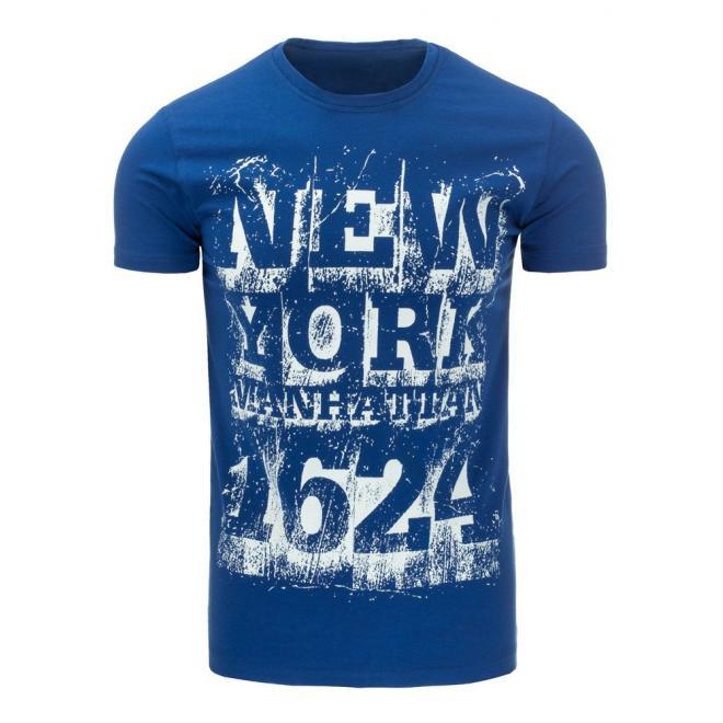 be46edb4c36f Moderné pánske tričko s krátkym rukávom v modrej farbe - skvelamoda.sk