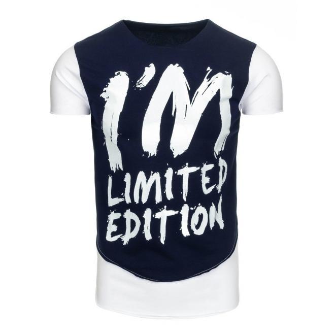 8b3c9bc43f71 Pánske štýlové tričká modro-bielej farby s nápisom - skvelamoda.sk