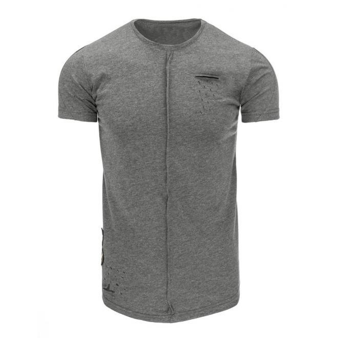 7c7c42b55c1a Pánske štýlovo roztrhané tričko tmavosivej farby s krátkym rukávom ...
