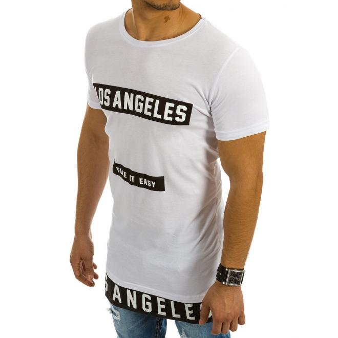 e302d679a334 Biele predĺžené tričko s potlačou pre pánov - skvelamoda.sk