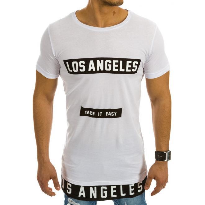 Biele predĺžené tričko s potlačou pre pánov - skvelamoda.sk baa77d6bda4