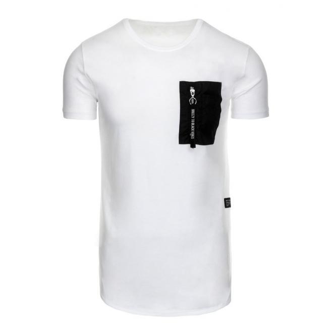 aeaf9a199ba8a Biele športové tričko s vreckom na hrudi pre pánov - skvelamoda.sk