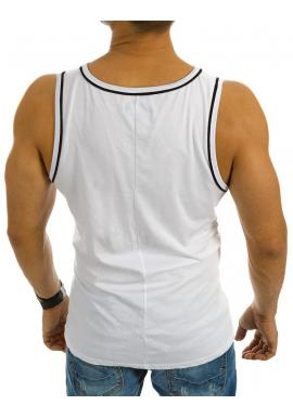Biele bavlnené tričko s farebnou potlačou pre pánov