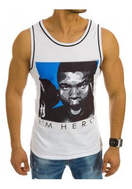 Pánske moderné tričko tmavomodrej farby s potlačou