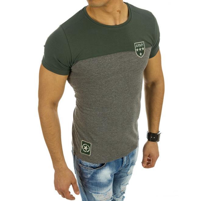 096019ae3053 ... Zeleno-biele moderné tričko s okrúhlym výstrihom pre pánov ...