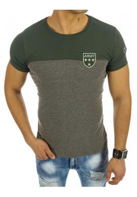 106d3854b29a Moderné pánske tričko s okrúhlym výstrihom sivo-zelenej farby ...