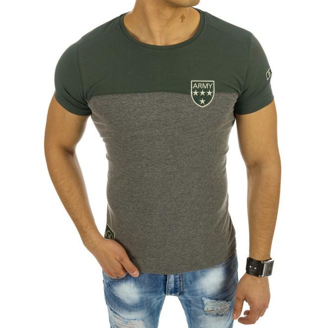 289dd8b279bb Moderné pánske tričko s okrúhlym výstrihom sivo-zelenej farby. Zeleno-biele moderné  tričko s okrúhlym výstrihom pre pánov