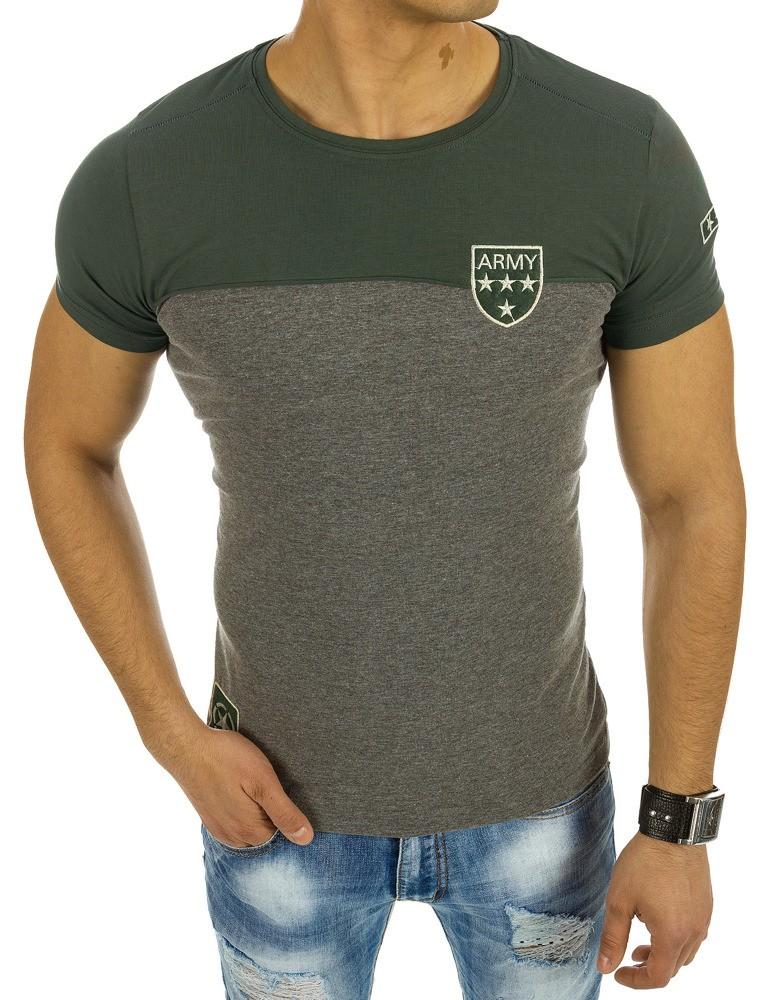f3a608d3703c Moderné pánske tričko s okrúhlym výstrihom sivo-zelenej farby -  skvelamoda.sk
