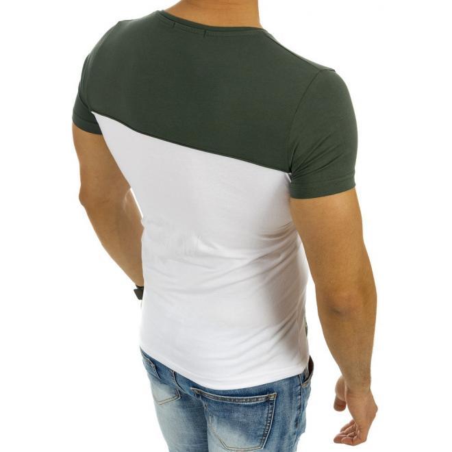 a27355609cb0 Pánske moderné tričko bielo-zelenej farby s nášivkou - skvelamoda.sk