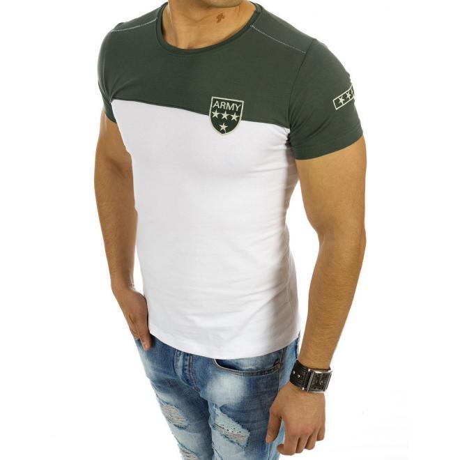 bed866e89452 ... Moderné pánske tričko s okrúhlym výstrihom sivo-zelenej farby ...