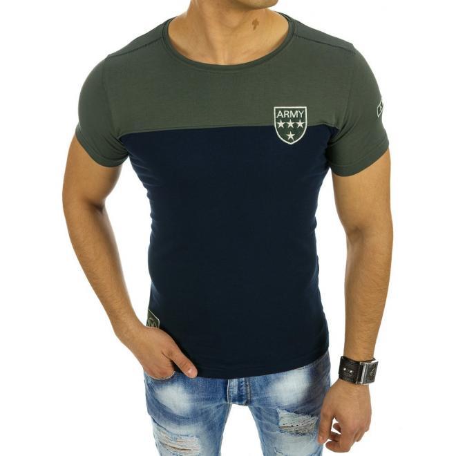 7b856e27d694 Moderné pánske tričko s okrúhlym výstrihom modro-zelenej farby ...