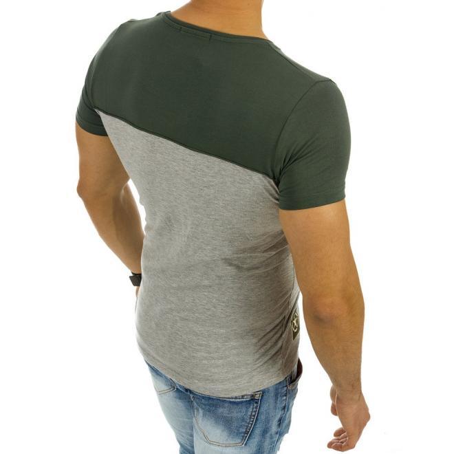 cd237e6fd1cf Pánske moderné tričko sivo-zelenej farby s okrúhlym výstrihom ...