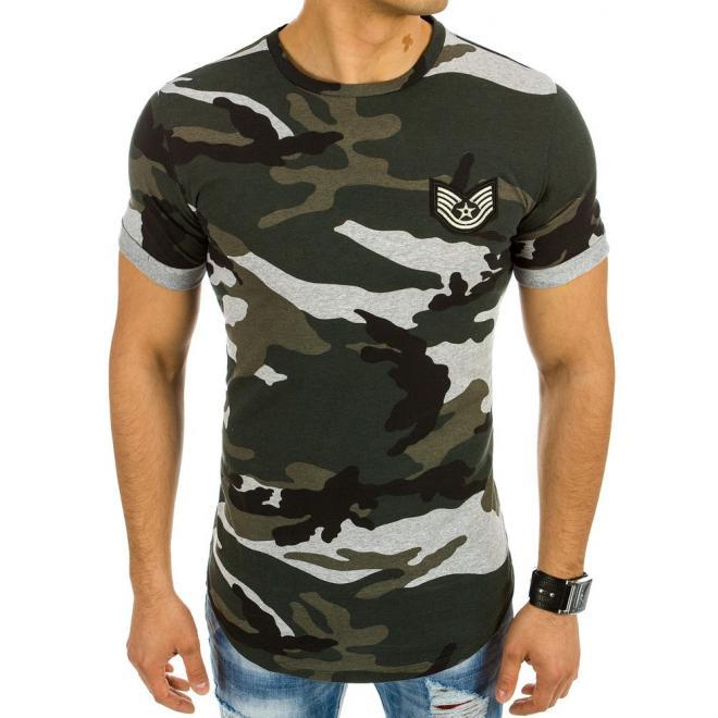 6bb074665283 Pánske maskáčové tričko zeleno-sivej farby s nášivkou - skvelamoda.sk