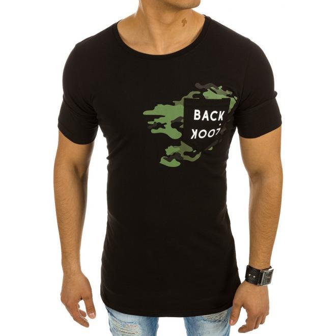 d6cbe47158cf2 Čierne bavlnené tričko s vreckom na hrudi pre pánov - skvelamoda.sk