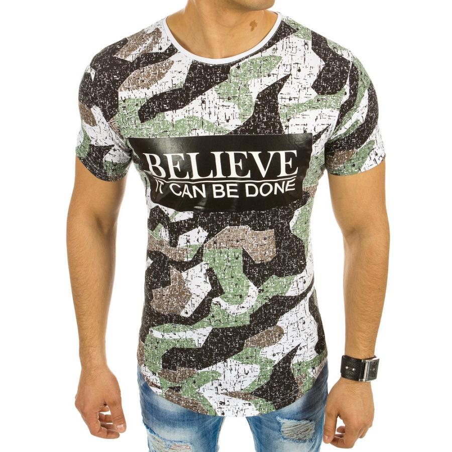 f4bb26776880 Štýlové pánske tričko s potlačou v bielo-čiernej farbe - skvelamoda.sk