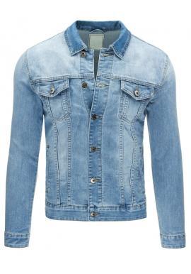 Štýlovo roztrhaná riflová bunda modrej farby
