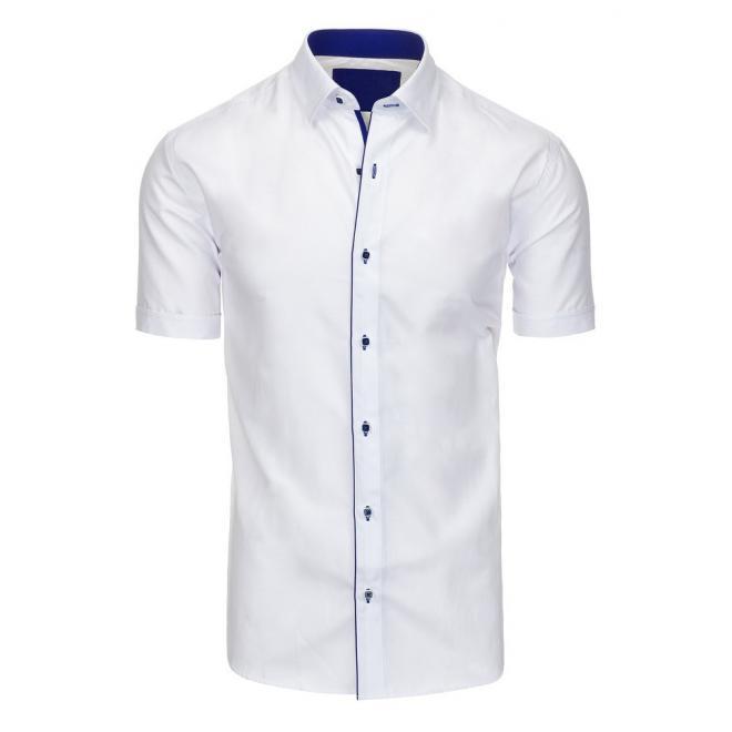 2032dd5b8587 Elegantná pánska košeľa bielej farby s tmavomodrým lemom - skvelamoda.sk