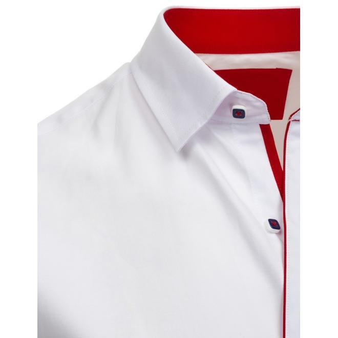 76b09f64bbc9 Elegantná pánska košeľa bielej farby s červeným lemom - skvelamoda.sk