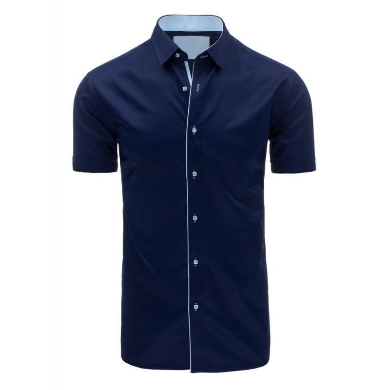 0735340e44c9 Tmavomodrá moderná košeľa s krátkym rukávom pre pánov - skvelamoda.sk