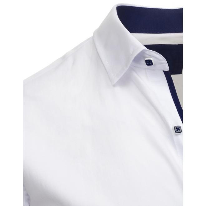 16841acb61e7 Elegantná pánska košeľa bielej farby s kontrastným lemom - skvelamoda.sk