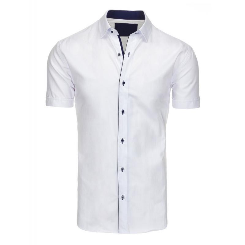 64820ee49302 Elegantná pánska košeľa bielej farby s kontrastným lemom - skvelamoda.sk