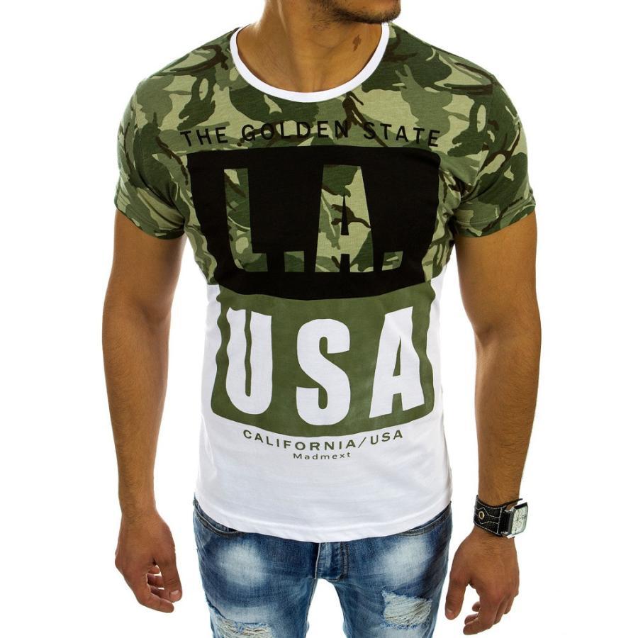82f3589f483c Športové pánske tričko s potlačou v zeleno-bielej farbe - skvelamoda.sk