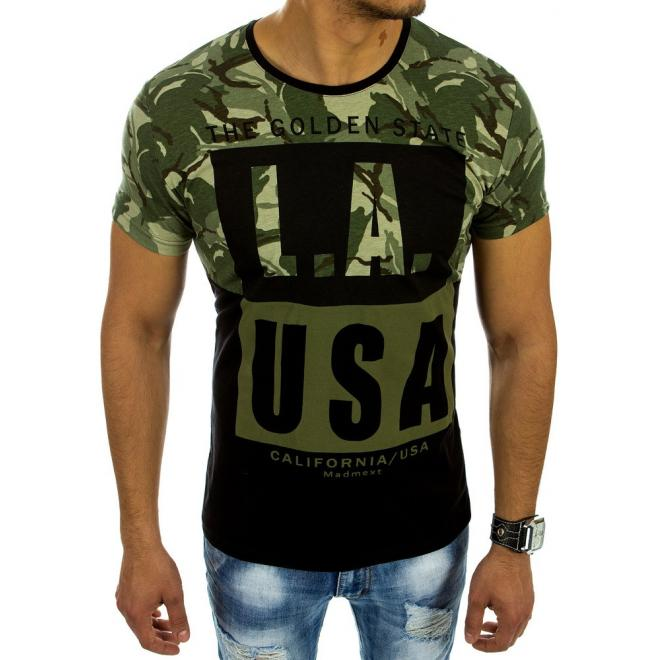c2361aaa946a Pánske športové tričká zeleno-čiernej farby s potlačou - skvelamoda.sk