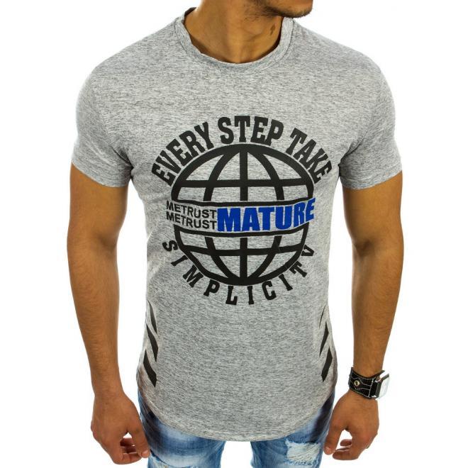 2a1d375f6 Moderné pánske tričká s potlačou v sivej farbe - skvelamoda.sk