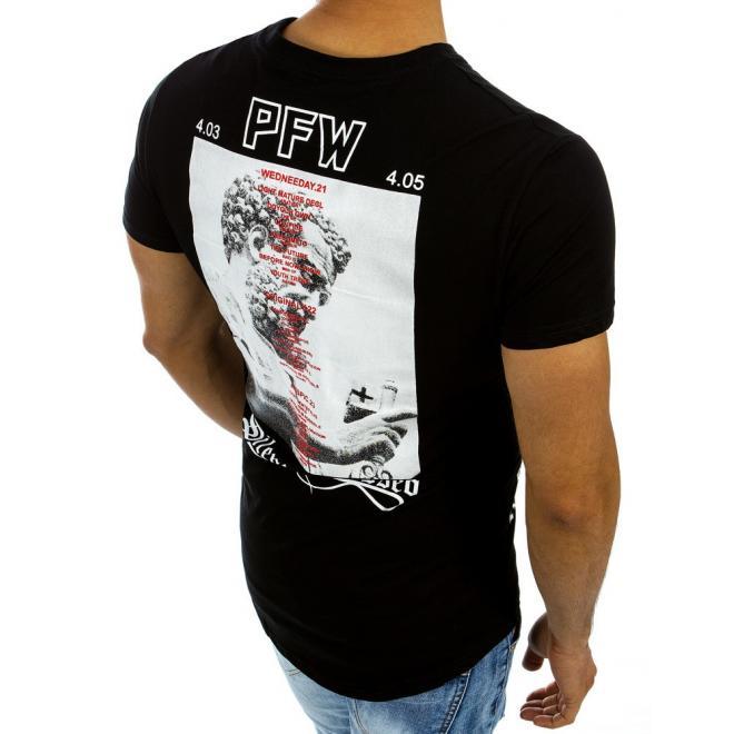 d1f22a4a76fa Pánske bavlnené tričká čiernej farby s potlačou - skvelamoda.sk