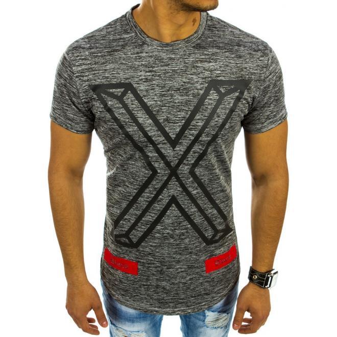 d331c5040 Pánske moderné tričko tmavosivej farby s potlačou - skvelamoda.sk