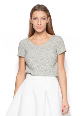 Ružové vzorované tričko s krátkym rukávom pre dámy