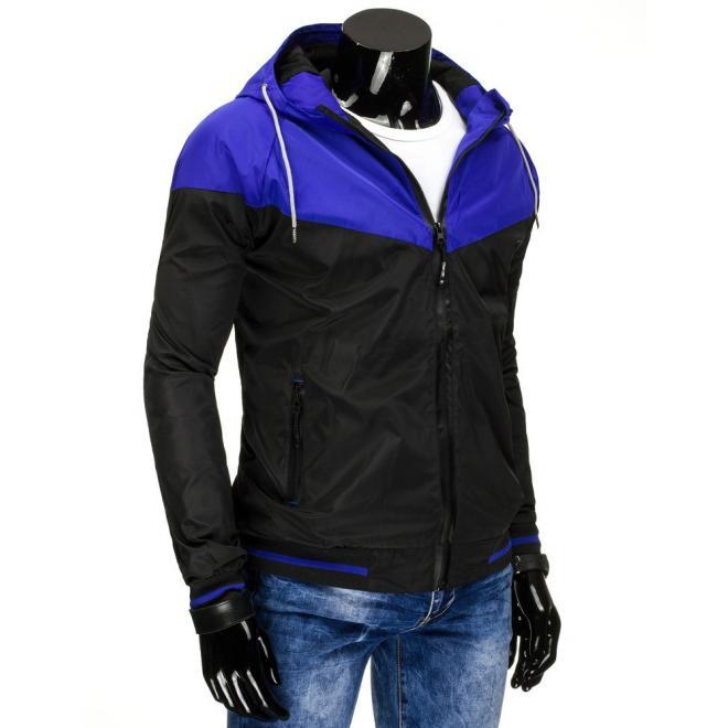 Jarná pánska vetrovka s kapucňou v čierno-modrej farbe - skvelamoda.sk 463ff1a410d