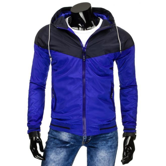 Modrá jarná vetrovka s kapucňou pre pánov - skvelamoda.sk 3e6c475a806