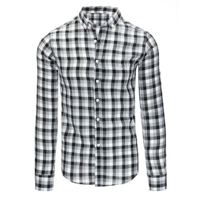 2c11dbb0704f Pánska kockovaná košeľa s dlhým rukávom v čierno-bielej farbe ...