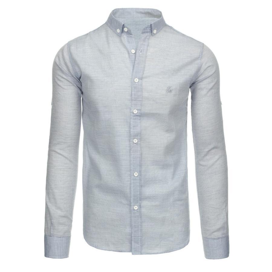 aef3bf58c440 Pánska kockovaná košeľa s dlhým rukávom v čierno-bielej farbe. Loading zoom