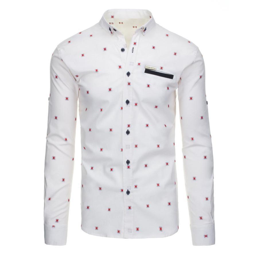 c5f954b0165e Pánska vzorovaná košeľa s dlhým rukávom v bielej farbe - skvelamoda.sk