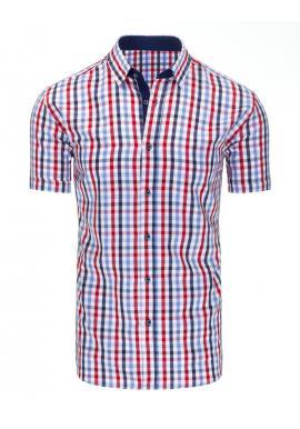Bielo-modrá kockovaná košeľa s krátkym rukávom pre pánov