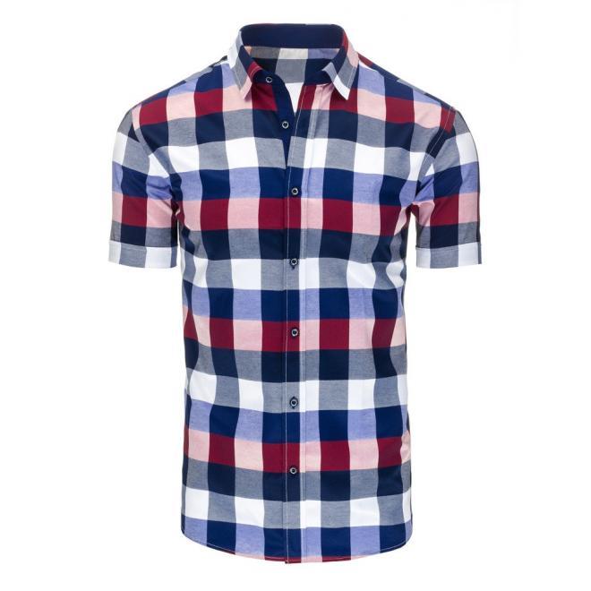 dd9e9138eff1 Pánska kockovaná košeľa s krátkym rukávom v modro-bordovej farbe ...