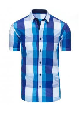 Modrá elegantná košeľa s kockovaným vzorom pre pánov