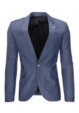 Pánske jednoradové sako v neformálnom štýle v modrej farbe
