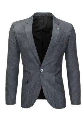 Jednoradové pánske sako modrej farby v neformálnom štýle