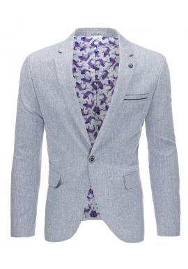 Modré neformálne sako s ozdobným odznakom pre pánov