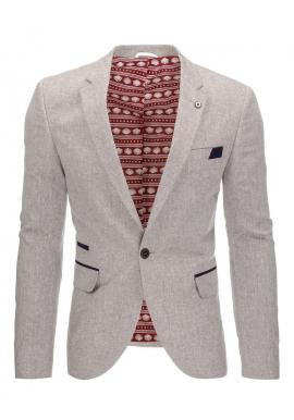 Pánske bodkované sako so záplatami na lakťoch v tmavomodrej farbe